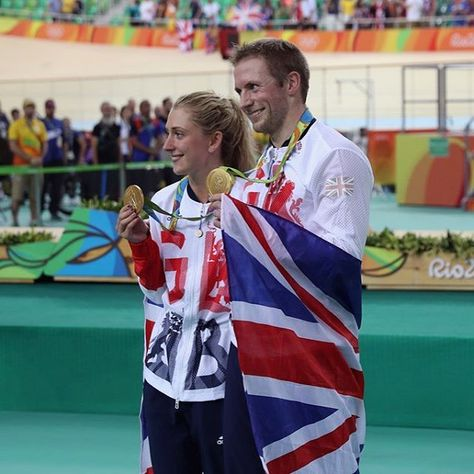 Gold medalist Jason Kenny of Great Britain is joined by girlfriend, cycling gold medalist Laura Trott of Great Britain, during the medal ceremony after the Men's Keirin Finals race on Day 11 of the Rio 2016 Olympic Games at the Rio Olympic Velodrome on August 16, 2016 in Rio de Janeiro, Brazil. #GoldenCouple #JasonKenny #LauraTrott #Gold #TrackCycling #Cycling #TeamGB #GBR #Rio2016 #Olympics #BringOnTheGreat #GoTeamGB  @hmarmedforces