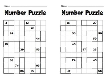 Here's a set of number puzzle frames where students work to fill in the missing…