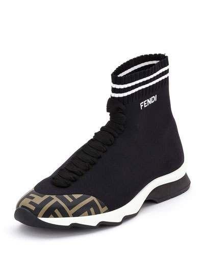 X4ERK Fendi FF Mid-Top Sock Sneakers