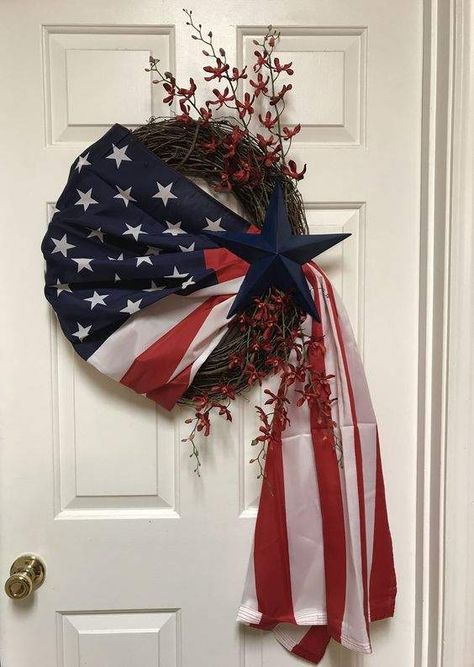 Patriotic Flag Wreath, Fourth of July Wreath, of July Wreath, Summer Wreath,… – 2019 - Cotton Diy Patriotic Wreath, Patriotic Crafts, July Crafts, Patriotic Party, Wreath Crafts, Diy Wreath, Grapevine Wreath, Wreath Ideas, Tulle Wreath