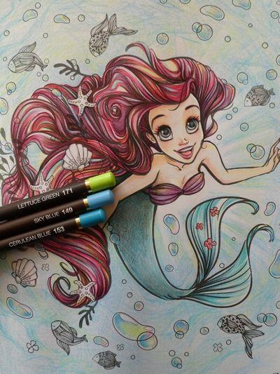 完成 子供のぬりえ アリエル を本気塗りしてみました アートぬりえarielより 大人の塗り絵 Ariel The Little Mermaid Sketches The Little Mermaid