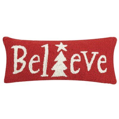 Three Posts Liverpool Believe In Hook Wool Lumbar Pillow Throw Pillows Christmas Hooked Wool The Holiday Aisle