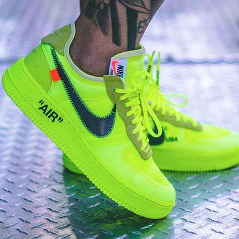 Nike Off White Air Force 1 Volt Com Imagens Tenis Sneakers