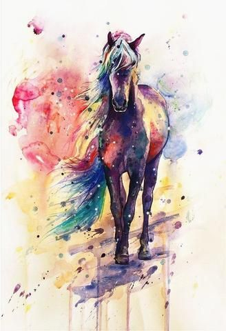 Colored Horse Animals Paint By Numbers In 2020 Watercolor