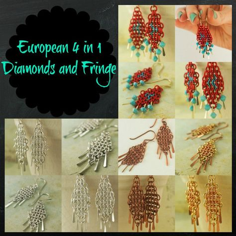 European 4 In 1 Diamonds And Fringe Chainmaille Earring Tutorial Pdf