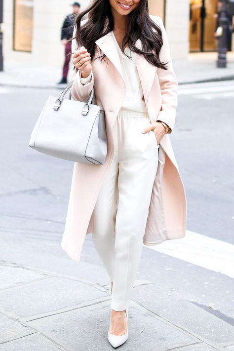 More outfit inspiration, we love this look with the pink coat + cream trousers.