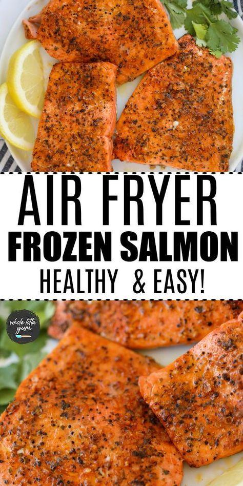 air fryer salmon from frozen. air fryer frozen salmon with garlic herb. keto, low carb, gluten free