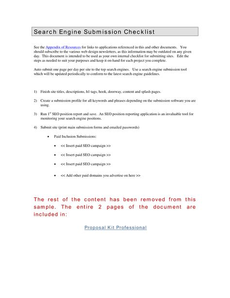 Search Engine Submissions - This document is intended for internal - project charter template