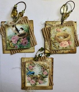 3 Layered Bird Twinchies with Hangers - Scrapbooking Collage, Handmade Tags, Candy Cards, Vintage Tags, Vintage Birds, Paper Tags, Scrapbook Embellishments, Card Tags, Tag Art