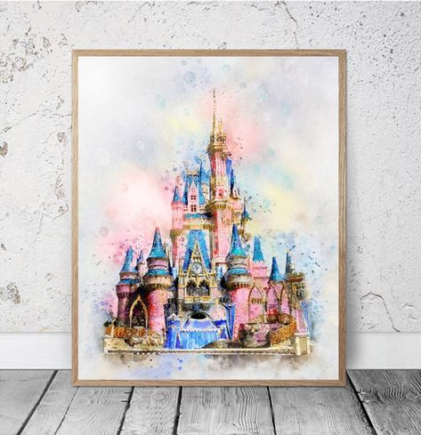 Disneyland Sleeping Beauty Magic Castle Aquarelle Printable Art