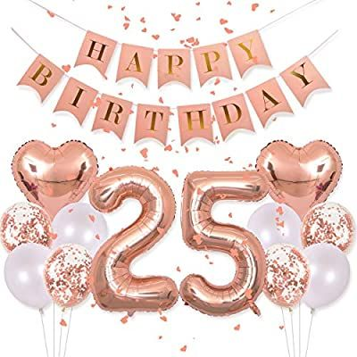25th Birthday Ideas For Her, Happy 25th Birthday, 25th Birthday Parties, Happy Birthday Balloons, Happy Birthday Banners, Birthday Party Decorations, 25 Birthday, Sister Birthday, 1st Birthdays