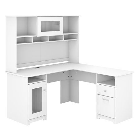 Pin On Thornwood Home White l shaped desk with hutch