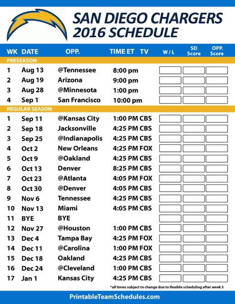 San Diego Chargers Football Schedule. Print Schedule Here - http://printableteamschedules.com/NFL/sandiegochargersschedule.php