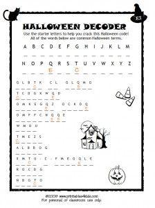 Halloween Break the Code Activity