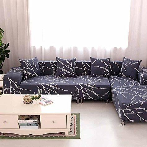 Lingjun Flexible Housses De Canape Imprime Dessin Avec Accoudoirs Decoration Protecteur Et Couverture De Sofa 1 2 3 4 Places Elast Housse Canape Canape Housses