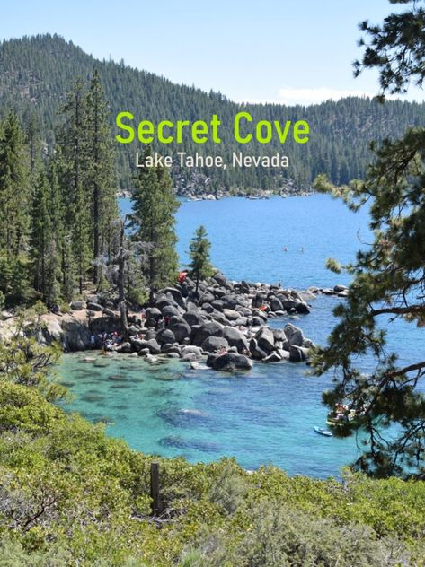 Lake Tahoe is a large freshwater lake lying on the border between California and Nevada in the Sierra Nevada Mountains. Lake Tahoe Nevada, South Lake Tahoe Hikes, Lake Tahoe Camping, Lake Tahoe Summer, Lake Tahoe Vacation, Cabins In Lake Tahoe, Secret Cove Lake Tahoe, Vacation Destinations, Dream Vacations