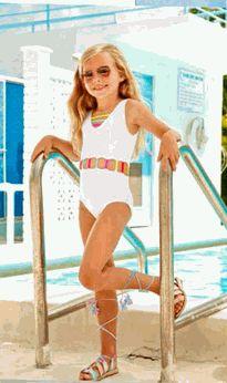 d2fda78e23 Little Pexoto 1pc White Girls Swimsuit w/Colorful trim-modelled after super  popular ladies