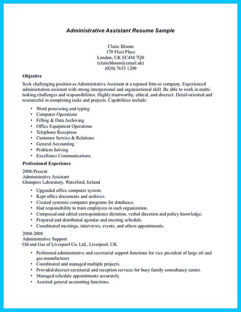 Administrative Assistant Resume Sample Administrative Assistants - admin assistant resume
