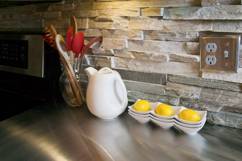 how to cut stacked stone around outlets