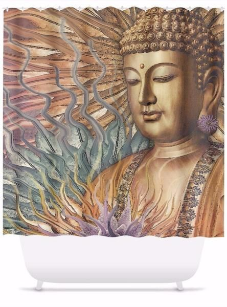 Buddha Shower Curtain Orange Teal And Lavender Proliferation