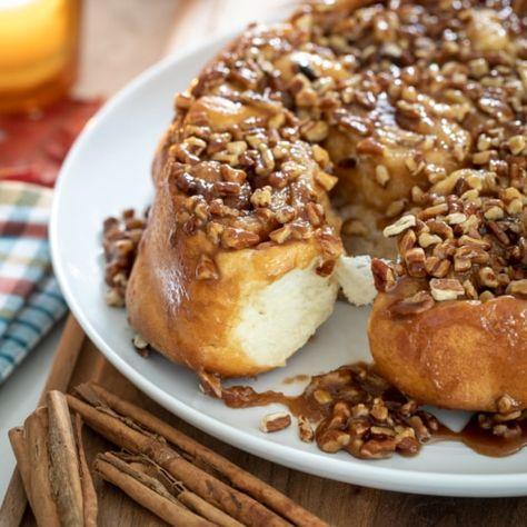 Salted Caramel Pecan Sticky Buns #breakfast #stickybuns #buns #pastry #fallbaking #saltedcaramel #caramel #pecan #brunch