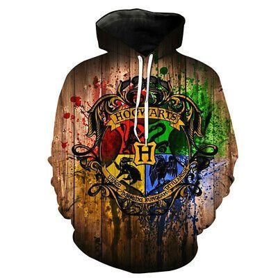 Harry Potter Hoodies 3D Print Sweatshirt Pullover Hooded Casual Jacket Coat Top