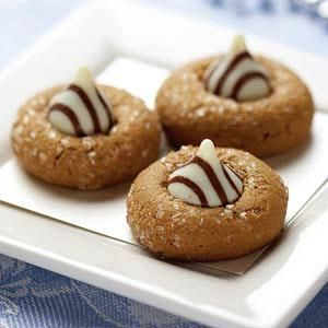 white chocolate kissed gingerbread cookies