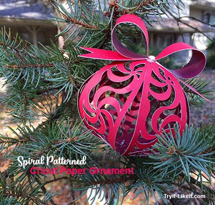 My Spiral Ornament For The Cricut Ornament Exchange Try It Like It Create Eat Read Buy Wi Paper Christmas Ornaments Cricut Ornaments Paper Ornaments