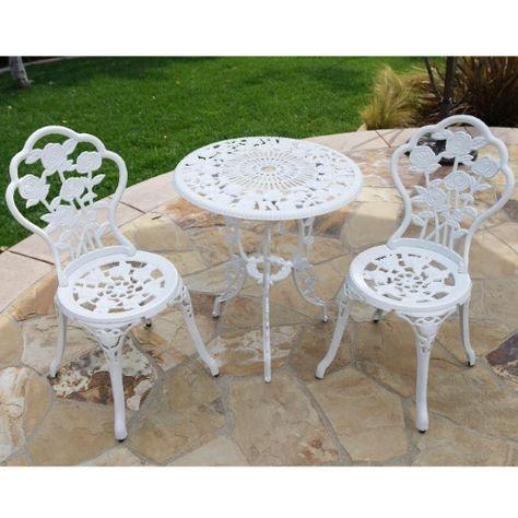 Fantastic Bellezzac Patio Furniture Cast Aluminum Tulip Design Bistro Ibusinesslaw Wood Chair Design Ideas Ibusinesslaworg