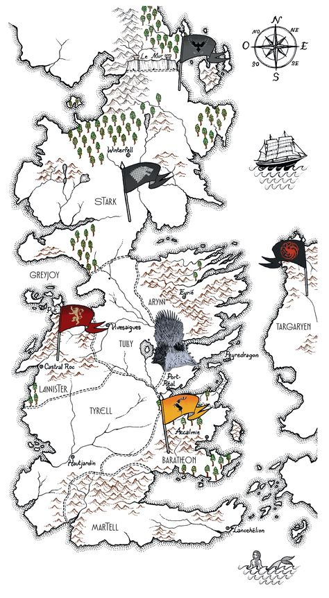 Carte Au Tresor De Chick : carte, tresor, chick, Carte, Thrones, Royaumes, Géographie, Thrones,, Trésor