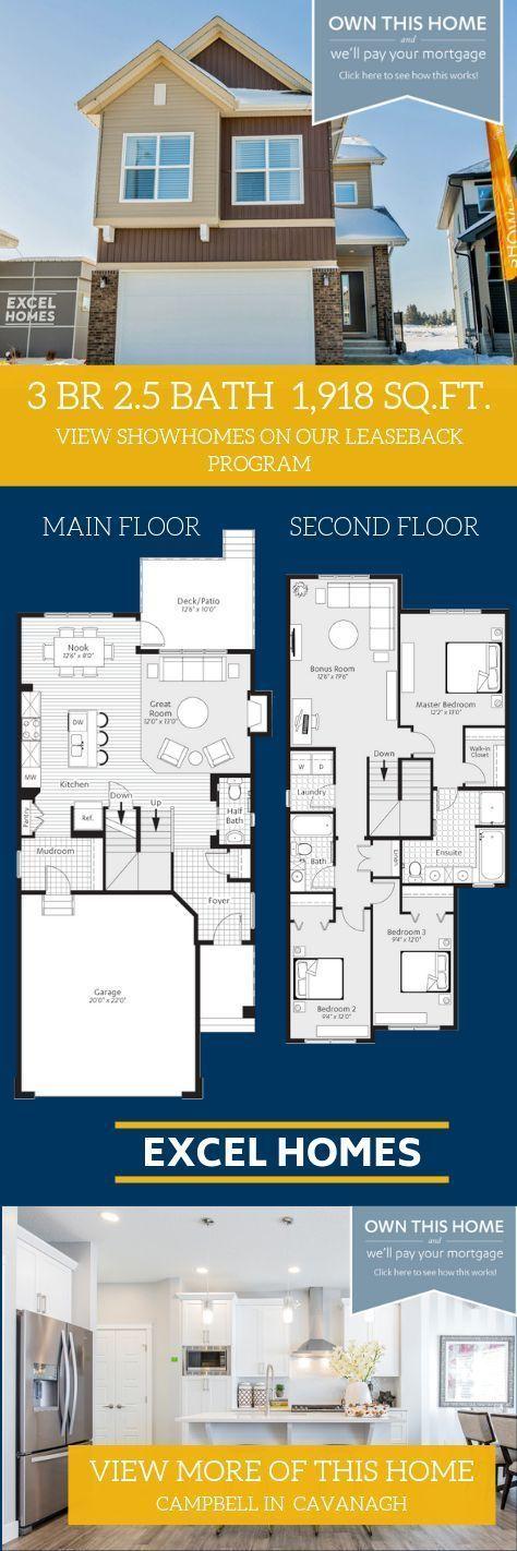 Show Home Campbell In Cavanagh Sw Edmonton Excel Homes In 2020 Floor Plans Floor Plan Design Show Home