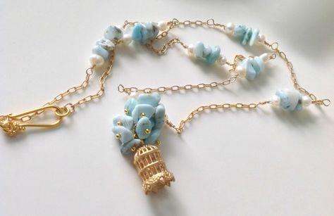 Larimar Necklace  Larimar  Genuine Blue by