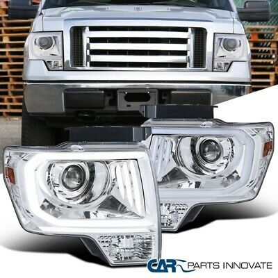 For 09 14 Ford F150 F 150 Clear Projector Headlights Lamps W Led Drl Strip In 2020 Projector Headlights Ford F150 F150
