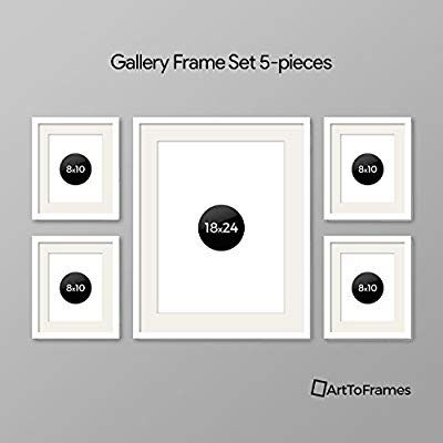 Amazon Com Arttoframes Picture Frame 9 Piece Wall Set 4 6x6 1 12x12 4 6x4 Inch White Frames White Display Mats H Gallery Frame Set Frame Frame Set