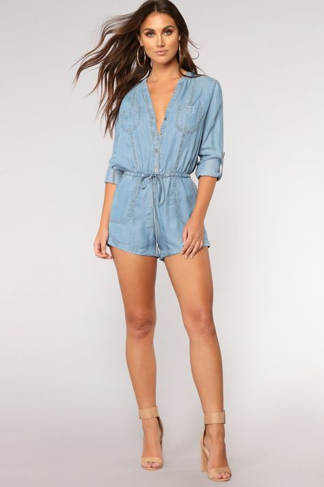 Available In Medium Wash Chambray Romper Rolled Sleeve Button Down Elastic Waistband