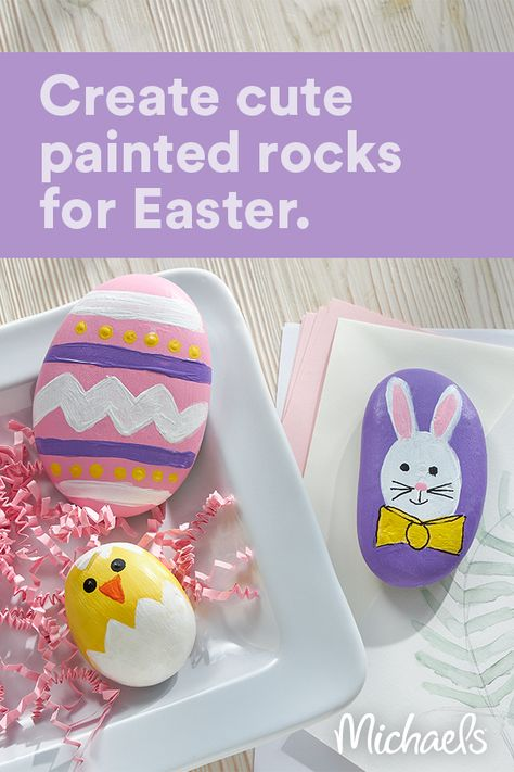 This project is intended for kids ages 5+. These adorable Easter themed painted rocks are fun to paint. Just use your imagination to create your very own designs.