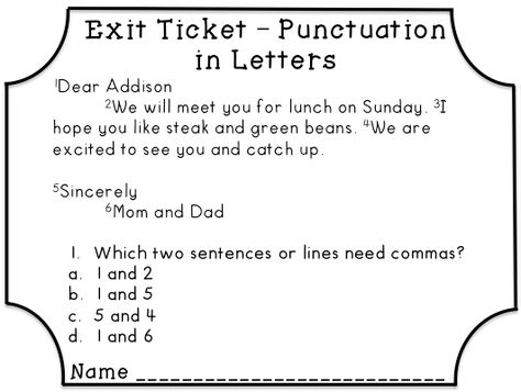 Conventions Exit Tickets or Exit Slips Multiple choice, Common - how to make tickets on word