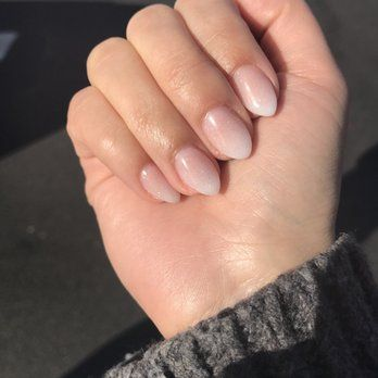 Ombre Acrylic On Short Natural Nails With An Almond Shape Glitter Gel On Top Done By Annie Yelp Nagels