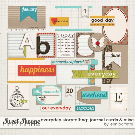 journaling cards and project life elements - digital