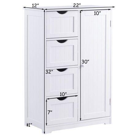 Goplus Wooden 4 Drawer Bathroom Cabinet Storage Cupboard 2 Shelves Free Standing White Walmart Com Cupboard Storage Bathroom Storage Cabinet Storage Cabinets