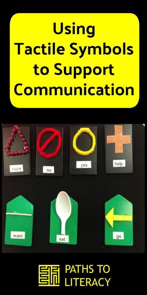 Using tactile symbols to support clients who have low vision and complex communication needs. This image represents that although someone may have a vision impairment they can still be communicated to via touch (tactile)