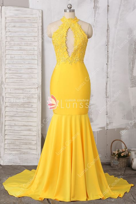 736d4fb2ee This elegant yellow long mermaid prom dress features a sexy beaded lace  bodice with chest keyhole, the unique strappy open back, fit and flare  skirt with ...