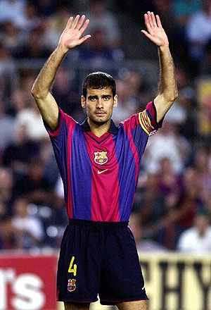 Pep Guardiola, darrer partit amb el Barça 2001. (Foto: EFE)