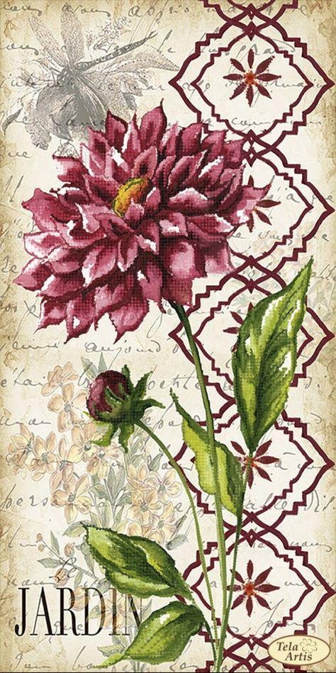 Vintage dahlia Bead Embroidery kit Butterfly Flowers Needlework Kit Beadwork Hand embroidery Kit Wil