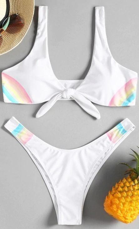 0955e5bccac1 Bikini Plongeant à Noeud Arc-en-Ciel in 2019 | 2019 beachwear ...