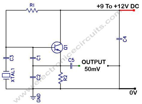 Colpitts 1mhz To 20 Mhz Crystal Oscillator Circuit Electronics Circuit Electronic Engineering Circuit