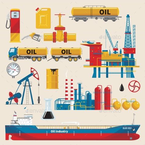 Oil Industry Decorative Icons Set by VectorPot Oil industry decorative icons set with extractive sea platform ship and railway tank pipeline isolated vector illustration. Editab
