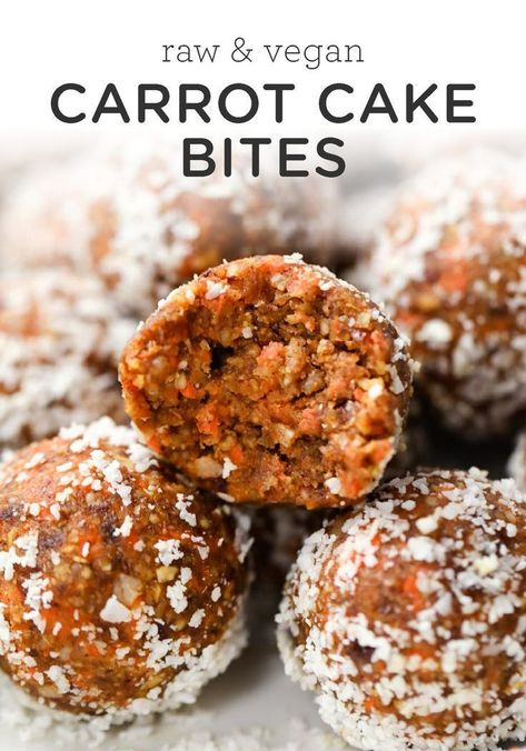 These healthy Carrot Cake Energy Bites remind you of an indulgent slice of cake, but are actually good for you! They're vegan, no-bake and seriously delicious! # Healthy Snacks no bake Vegan Carrot Cake Bites Vegan Sweets, Healthy Dessert Recipes, Healthy Baking, Healthy Desserts, Raw Food Recipes, Cooking Recipes, Vegan Baking Recipes, Raw Vegan Desserts, Carrot Recipes