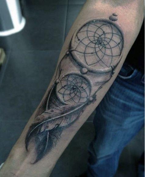 100 Dreamcatcher Tattoos For Men Divine Design Ideas Tattoos For Guys Dream Catcher Tattoo Dreamcatcher Forearm Tattoo