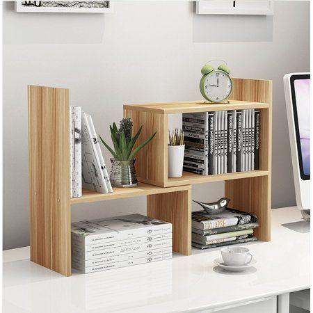 Adjustable Desktop Bookshelf Wood Storage Organizer Display Shelf Rack Counter Top Bookcase Light Wood Color Countertop Shelves Desktop Shelf Desktop Bookshelf